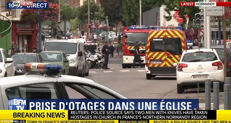 Entre quatro e seis pessoas estavam sendo mantidas pelos assaltantes em Saint-Etienne-du-Rouvray, perto da cidade de Rouen