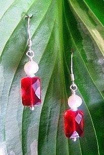 Garnet Glass and Natural Pearl Earrings