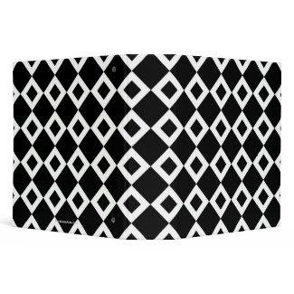 Black and White Diamond Pattern Vinyl Binders