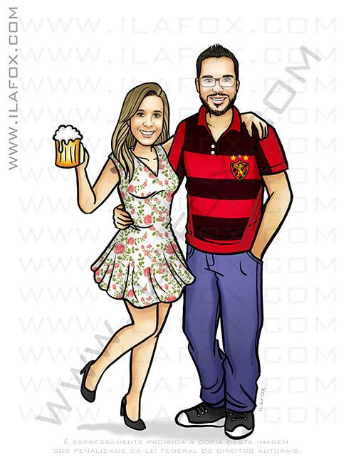 caricatura casal, caricatura sem exageros, caricatura bonita, caricatura time futebol, caricatura sport clube do recife, ila fox