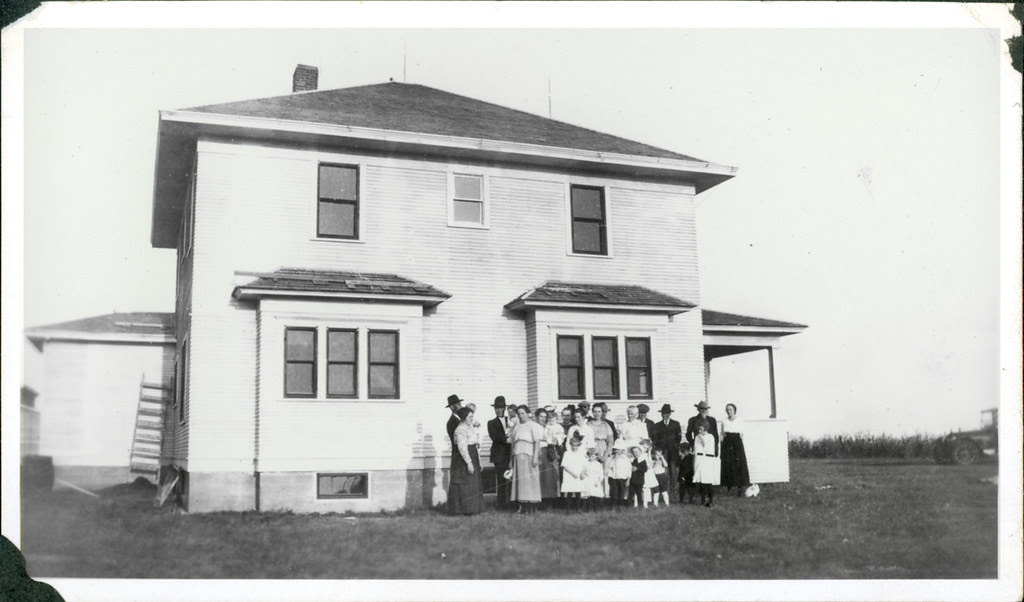 Group outside house