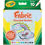 Crayola Fabric Markers,  Assorted Colors - 10 count