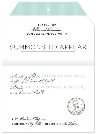 wedding invitations   summons to appear at Minted.com