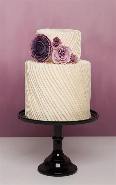 Modern Wedding Cake   custom designed 2 tier pleated