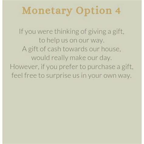 Wedding invitation wording for a monetary gift    Wedding