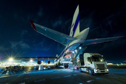 EUTELSAT 8 West B satellite shipment at Nice airport (France) to Europe's spaceport in Kourou (French Guiana) in an Antonov aircraft
