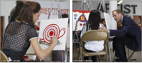 Royal snail  Kate races ahead with her painting at Inner-City Arts  campus whilst William is slow off the mark  1