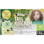 Green 'N' Pack Eco Friendly Bags Tall Kitchen Bags with Drawstring 13 Gallon 40 Bags