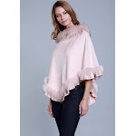 Faux Suede Poncho with Raccoon Fur Collar