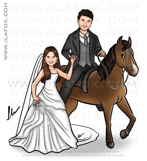 caricatura noivos, caricatura noivo no cavalo, noiva e cavalo, by ila fox