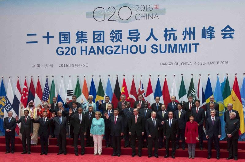 <p>Los líderes políticos del G20 durante la anterior cumbre, celebrada en China en septiembre de 2016.</p>