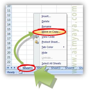 Gambar: Cara memindahkan sheet melalui perintah Move or Copy Microsoft Excel