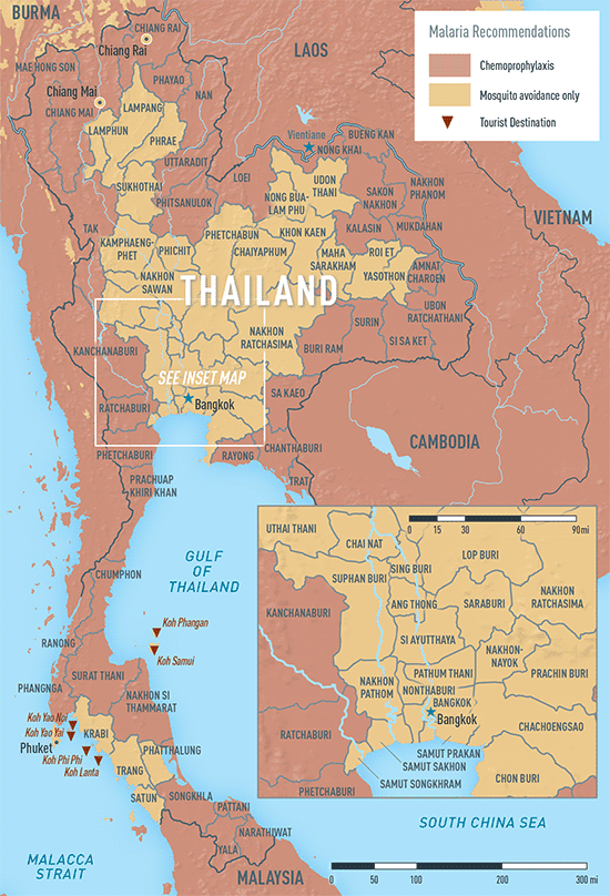 Map Of Malaria Zones Thailand Maps Of The World