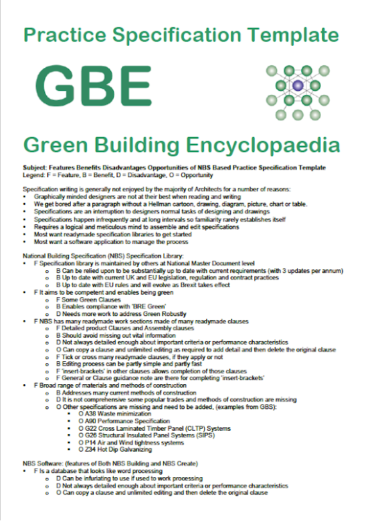 Features Benefits Practice Specification Template PST Collaborate - Green Building Encyclopaedia