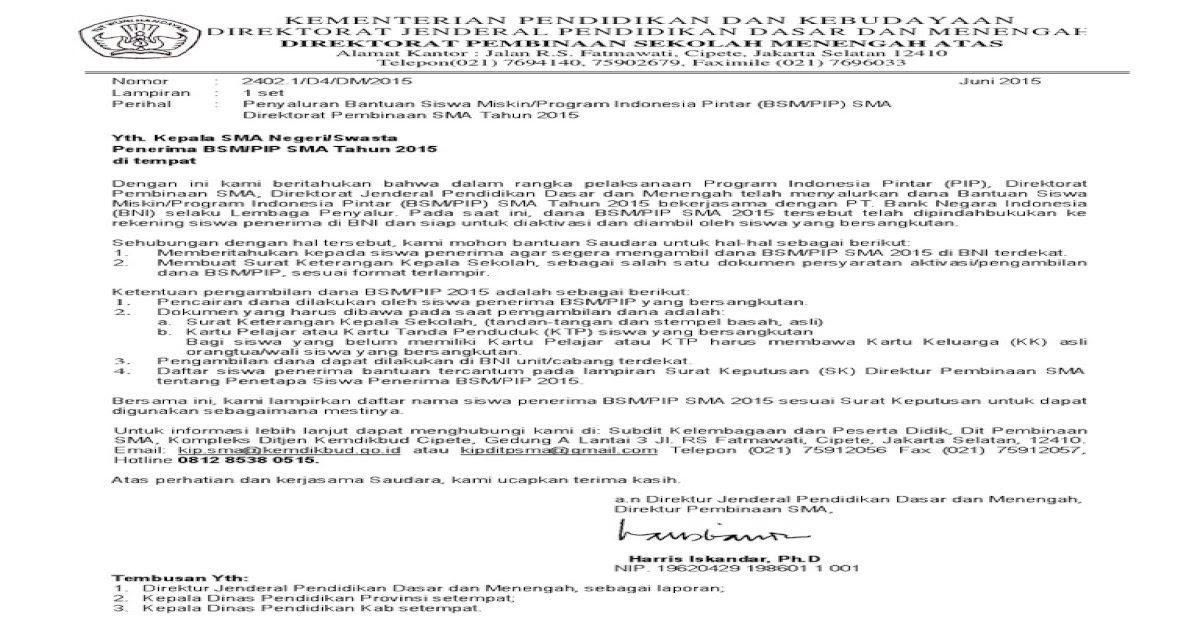 Surat Keterangan Kepala Sekolah Untuk Pencairan Bsm - Bagi ...