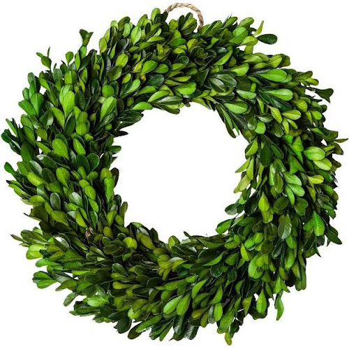 11 Dried Boxwood Leaves Wreath Green - Smith & Hawken