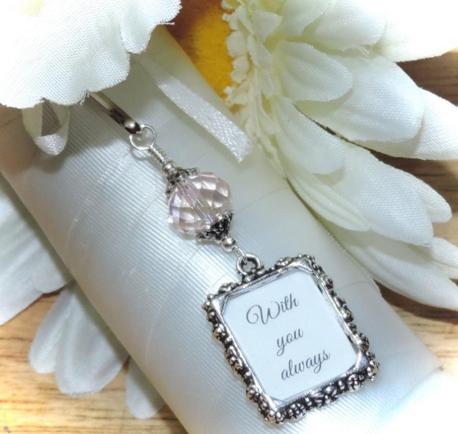 Wedding Bouquet Photo Charm Pink Crystal And Small Picture Frame