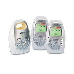 VTech DM223-2 Audio Baby Monitor with Two Parent Units, Up to 1, 000 ft of Range, Vibrating Sound-Alert, Talk-Back Intercom, Digitized Transmission