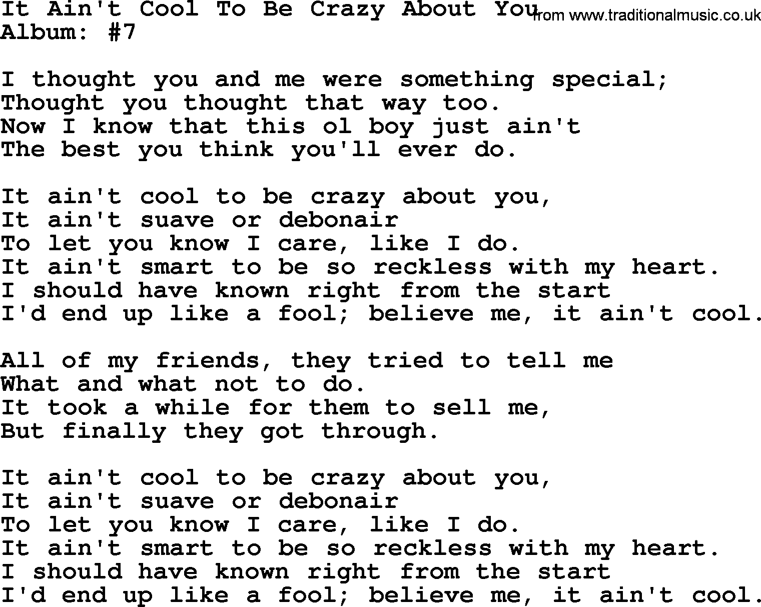 It Aint Cool To Be Crazy About You By George Strait Lyrics