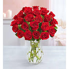 1-800-Flowers Two Dozen Red Roses with Clear Vase