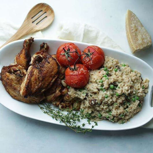 Truffle Butter Risotto Recipe with Roast Chicken and Herbs