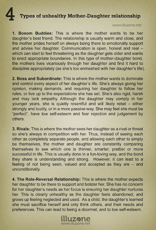 4 Types of unhealthy Mother-Daughter relationship - Illuzone