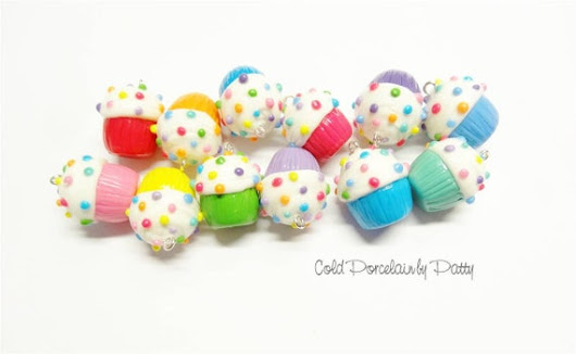 Set of 12 Cold Porcelain Multicolored Cupcake Clay Charms