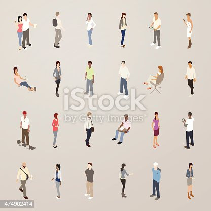 Young People Flat Icons Illustration stock vector art 474902414