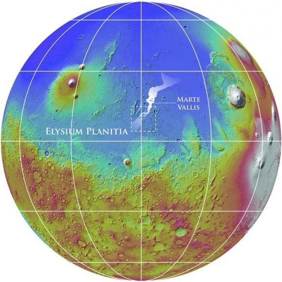 Mars Reconnaissance Orbiter revealed about 1,000 km of underground channels, called Marte Vallis, shown at center in this map. The rendering of Mars is in false color to highlight elevation differences. Credit: NASA/MOLA Team/Smithsonian Institute