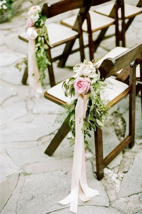 Pink Peony Aisle Decor Flowers on Wood Chairs   http