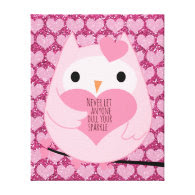 Pink Hearts Owl with Sparkle Quote Stretched Canvas Print