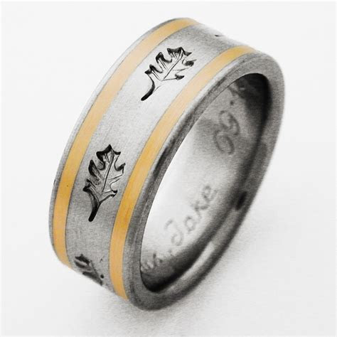 Oak Royale 1 titanium ring with oak leaves   Titanium