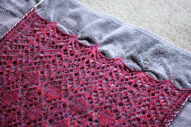Blocking Fairview Scarf - pin out the points