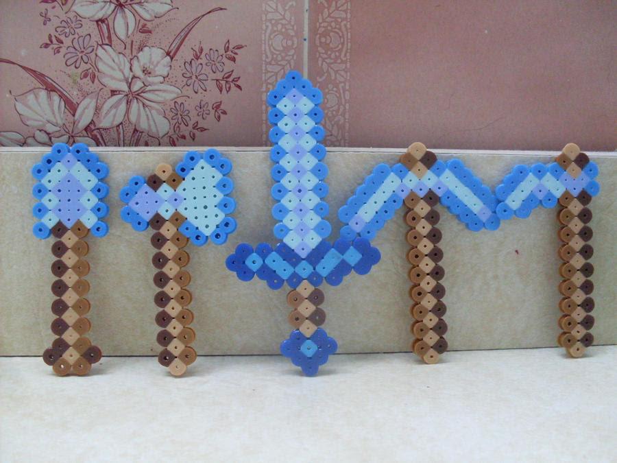 Minecraft Crafts Diamond Sword Perler Beads Bead Pattern