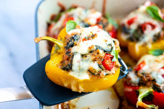 Easy Sausage Stuffed Peppers with Spinach