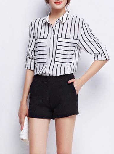 womens striped blouse black white  quarter length sleeves