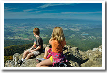 Children look out over the vista