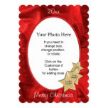 Personalize Your Photo: Red Christmas Oval Frame 5x7 Paper Invitation Card