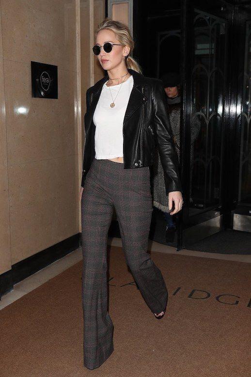 Le Fashion Blog Jennifer Lawrence Street Style Menswear Inspired Round Sunglasses Biker Jacket White T Shirt Checked Flare Leg Trousers Platform Sandals Via Vogue
