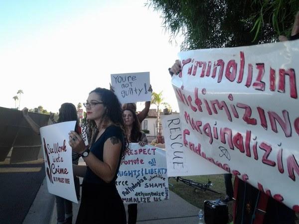 SWOP-Phoenix members protesting Project Rose (Photo by Peggy Plews, courtesy of SWOP-Phoenix)