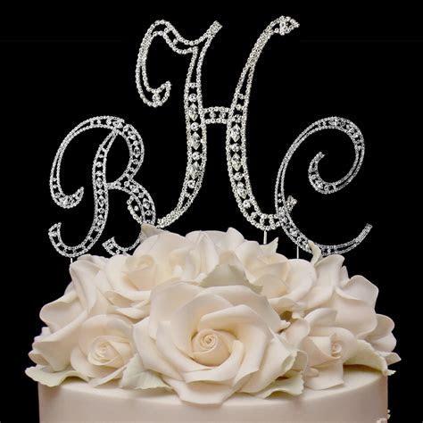 Vintage Elegance Rhinestone Monogram Cake Toppers