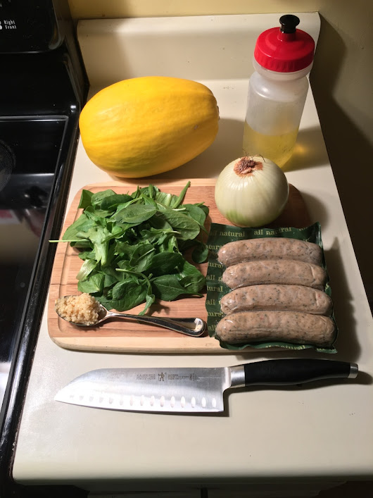 MAKING RACE WEIGHT: Spaghetti Squash with Sausage and Greens