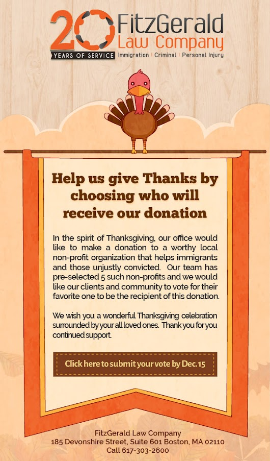Help us give Thanks by choosing who will receive our donation