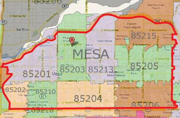 Mesa Arizona Zip Code Map Mesa Arizona Zip Code Map | Global Map