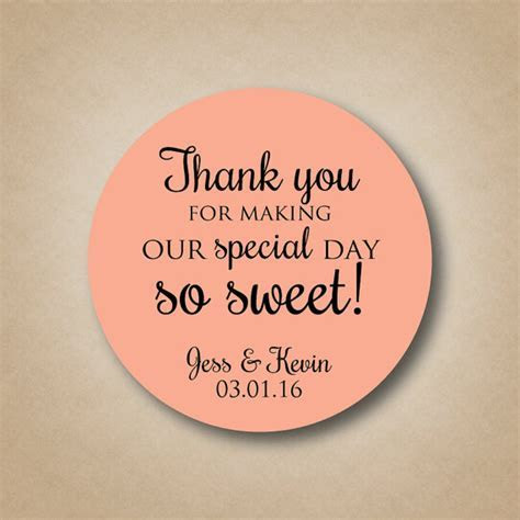 Thank You Stickers Wedding Favor Stickers Special Day So