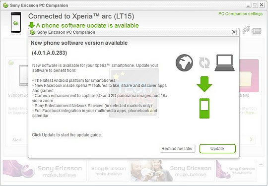 sony ericsson xperia arc android 2.3.4