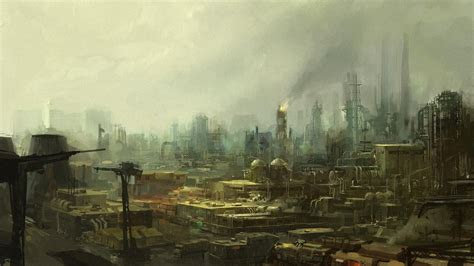 industrial science fiction artwork plants wallpaper