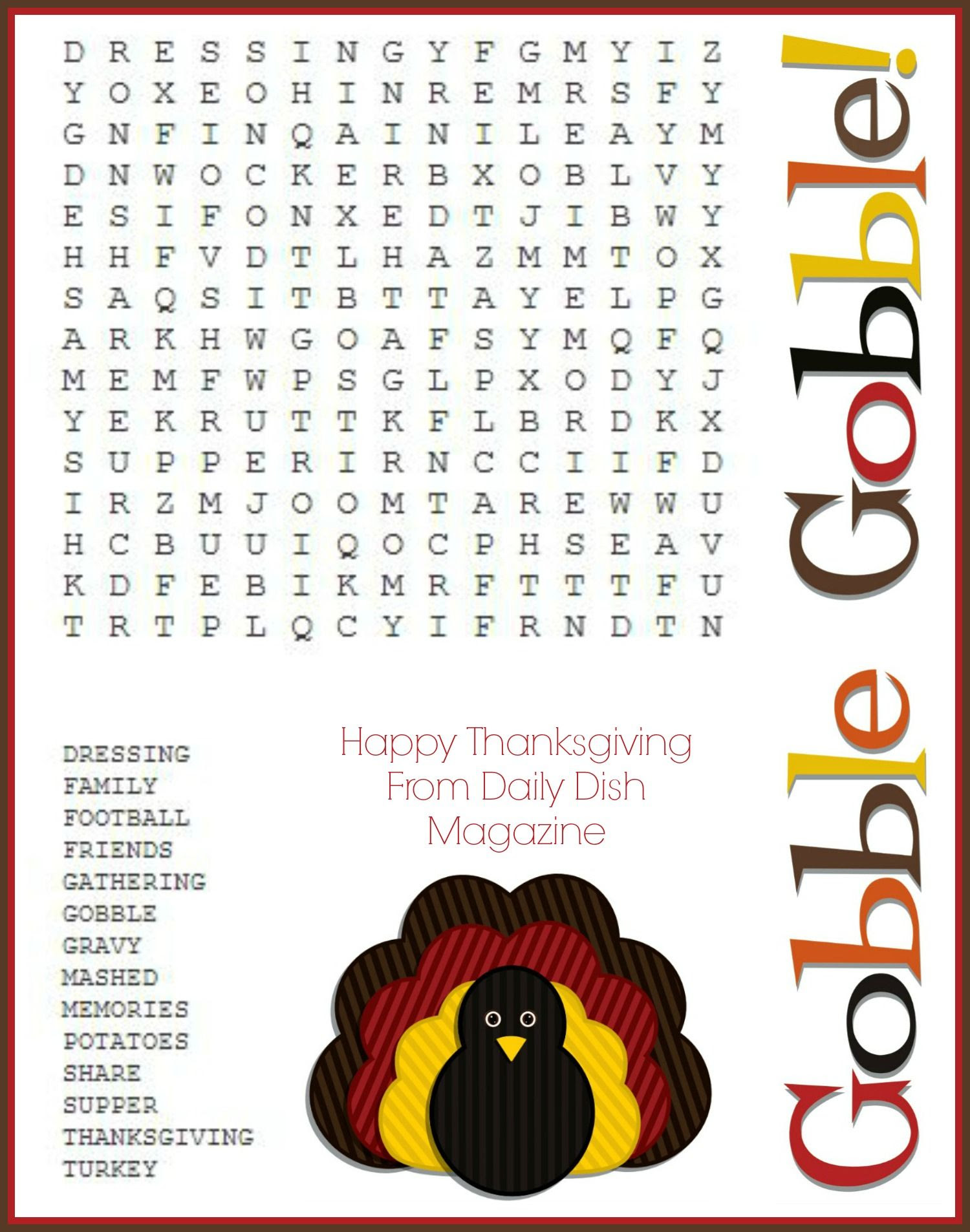 Fun Thanksgiving word search activity! If your students are ...