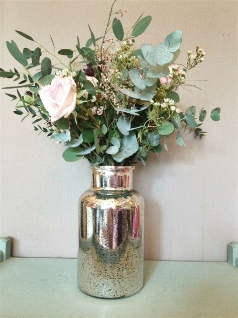 Mercury Glass Silver Flower Vase, Vintage Wedding