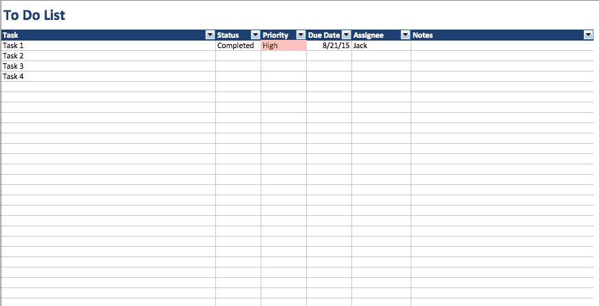 Free To Do List Templates in Excel